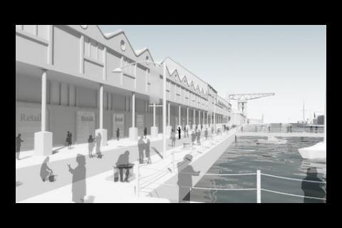 Artist's impression of James Watt Dock, Greenock